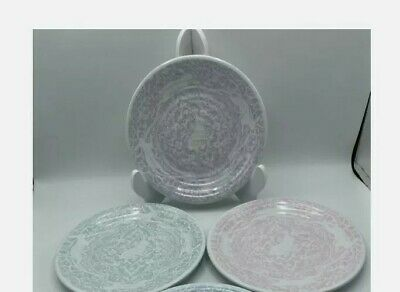 """NEW Set 4 Spring BUNNY /& DUCK MELAMINE PLATES 9/"""" Ruffle Edge Floral EASTER"""