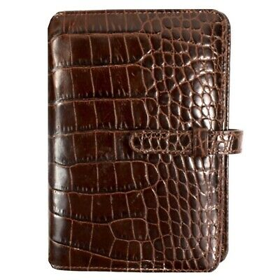 COACH brown croc embossed leather organizer planner
