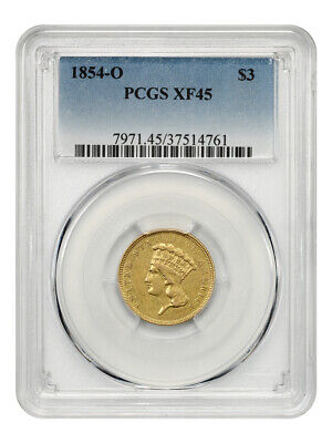 1854-O $3 PCGS XF45 - Low Mintage Gold from New Orleans - 3 Princess Gold Coin