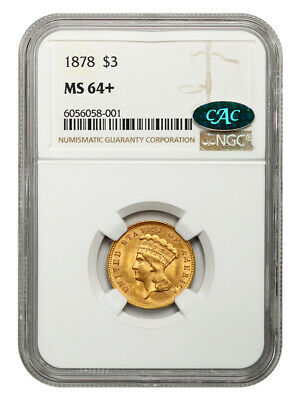 1878 $3 NGC/CAC MS64+ Popular Gold Type Coin - 3 Princess Gold Coin