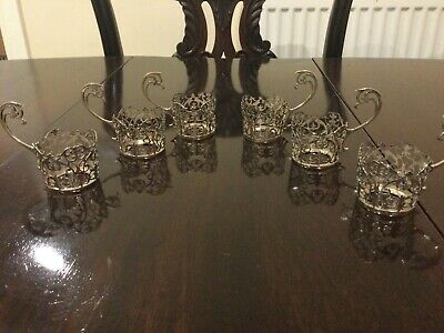 Antique Set Of 6 Hallmarked Solid Silver Pierced Small Coffee Can Holders - 1914