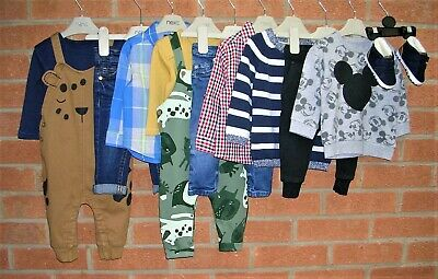 NEXT JOULES RIVER ISLAND etc Boys Bundle Jeans Tops Dungarees Outfits Age 6-9m