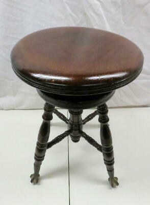 Antique Charles Parker Co Adjustable Piano Organ Stool Claw Foot Glass Ball Feet