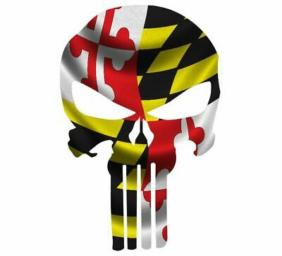 "Skull Decal State Of Maryland Cut-out 2"",4"",6"",8"""