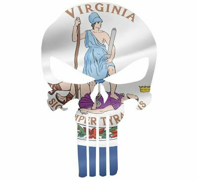 "Skull Decal State Of Virginia Cut-out 2"",4"",6"",8"""