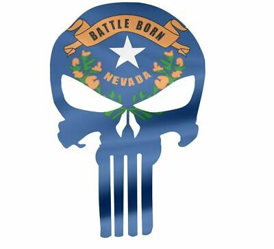 "Skull Decal State Of Nevada Cut-out 2"",4"",6"",8"""