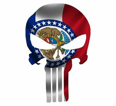 "Skull Decal State Of Missouri Cut-out 2"",4"",6"",8"""