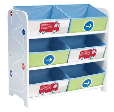 Vehicles Kids Bedroom Storage Unit with 6 Bins by HelloHome