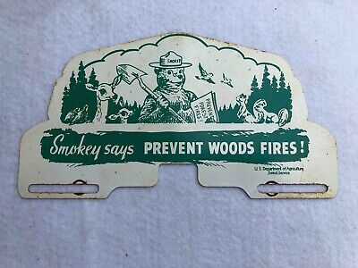 Smokey the Bear says Prevent Forest Fires US Dept Ag License Plate Topper