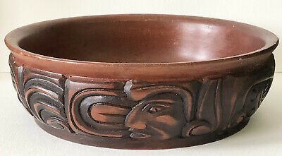 Vintage Hand Carved Honduras Mahogany Wooden Wood Bowl Artist Signed Faces Hands