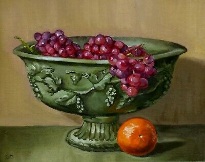"Original Oil Painting Still Life Realism 11""x14"" Canvas Artist Signed 2000-now"