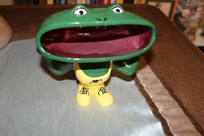 Vintage Funky Ceramic Open Mouth Frog Figurine Trinket Soap Candy Dish