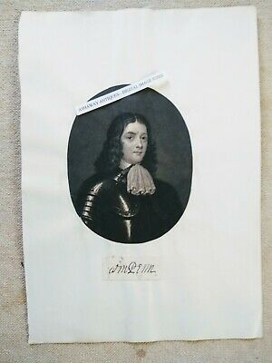 WILLIAM PENN Quaker Autograph/CLIPPED with Print/c1700s--with PAINTING on Back