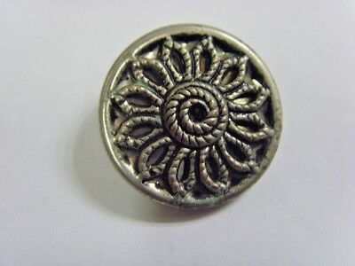 1920s antique filigree cut out silver tone metal mirror back floral button 49210
