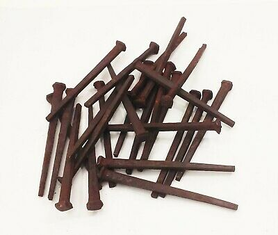 "lot of 25 vintage antique 4"" long square cut nails spikes"