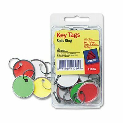 Avery Key Tags with Split Ring, 1 1/4 dia, Assorted Colors, 50/Pack (AVE11026)