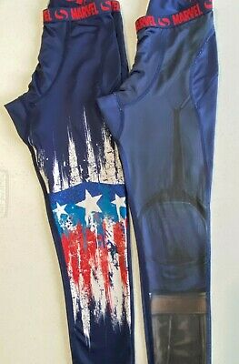 Kids Sondico Long Tights in Navy Captain America/Marvel Size age 5-6 years