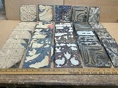 "50 pc Lot of 5.5"" x 5.5"" Antique Ceiling Tin Vintage Reclaimed Salvage Art Craft"
