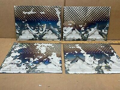 "4pc Lot of 12"" by 9"" Antique Ceiling Tin Metal Reclaimed Salvage Art Craft"