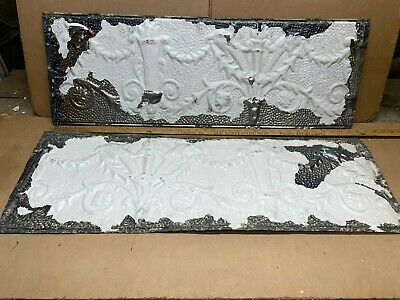 "2pc 36"" x 12"" Flat Molding Antique Ceiling Tin Vintage Reclaimed Salvage Craft"
