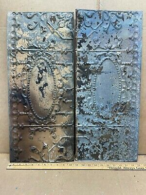 "2pc Lot of 24"" by 10"" Antique Ceiling Tin Metal Reclaimed Salvage Art Craft"