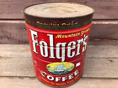 """OLD VTG 1959 FOLGERS COFFEE TIN CAN w LID 8"""""""