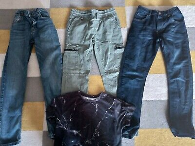 Boys Bundle 2 jeans,trousers &  t-shirt Age 9-10 Years Excellent Condition