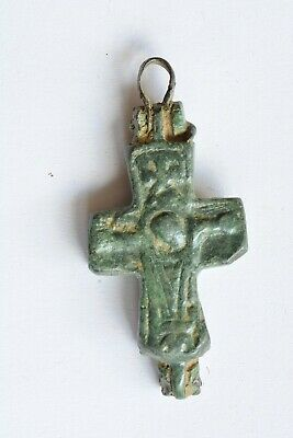 Byzantine bronze cross encolpion Jesus Christ crucified 6th century AD