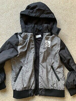 Lovely Boys Aged 6-8 H&M Black And Grey Jacket With Removable Hood