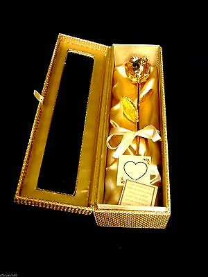 MOTHER'S DAY GIFT 12 Inch 24K Gold Dipped Real Rose in Gold Egyptian Casket NEW