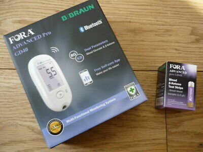 BBRAUN FORA advanced pro GD40 Dual Blood glucose/ketone latest monitoring + FREE