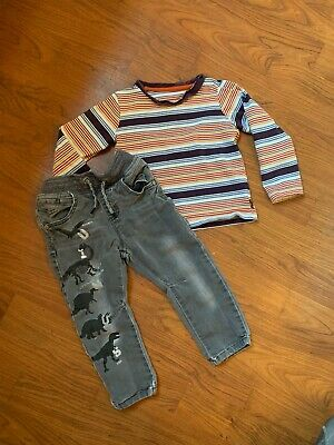 Boys Outfit 12-18 M - NEXT Dinosaur Skinny Jeans Long Sleeve Striped Top Retro