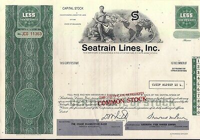Seatrain Lines, Inc stock certificate Less Than 100 Shares State of Delaware