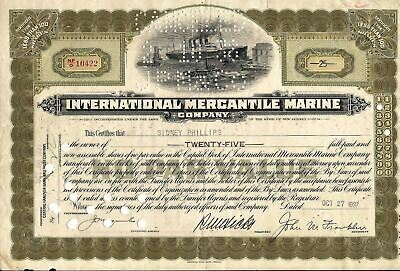 International Mercantile Marine stock certificate dated 1934 olive New Jersey