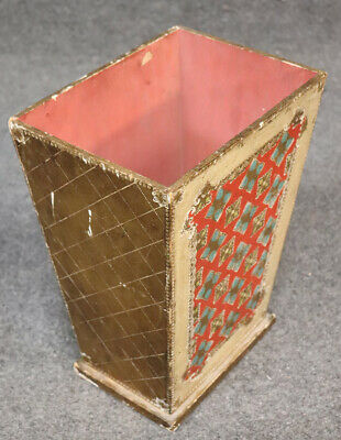 Italian Florentine Paint Decorated Gilded Waste Paper Basket Trash Can