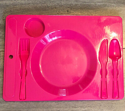Kids, Children Dinner Food Plate Meal Tray Toddler Plate Pink