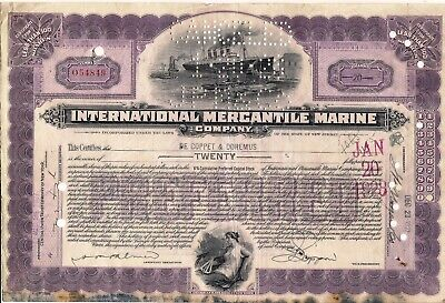 International Mercantile Marine stock certificate 20 shares 1927 + 4 stamps