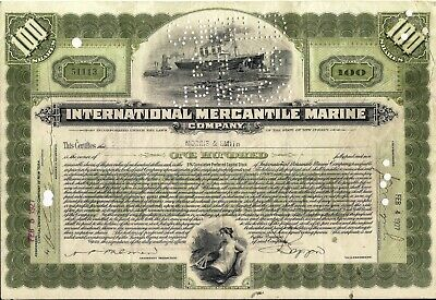 International Mercantile Marine stock certificate 1927 back with 4 stamps
