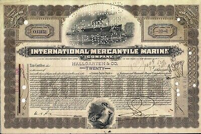 International Mercantile Marine stock certificate 1920 back with 4 stamps
