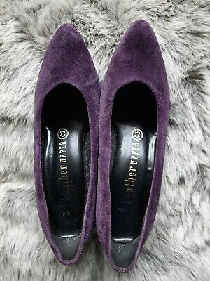 Vintage 1980's St. Michael Purple Suede Leather Court Shoes kitten heels UK 5.5