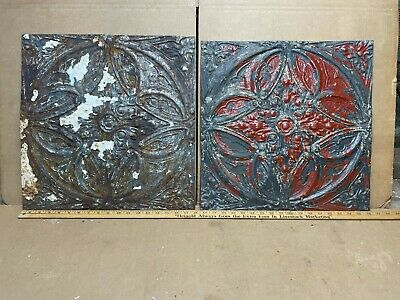 "2 pc Lot 18"" by 18"" Antique Ceiling Tin Metal Reclaimed Salvage Art Craft"