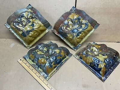 4pc lot Med Corner Pieces Antique Ceiling Tin Metal Reclaimed Salvage Art Craft