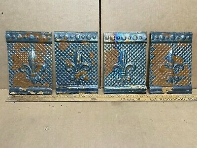 "4 pc Lot 8.5"" x 6"" Fleur Antique Ceiling Tin Metal Reclaimed Salvage Art Craft"