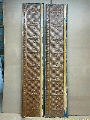 "2 pc 48"" x 9.5"" Flat Antique Ceiling Tin Vintage Reclaimed Salvage Art Craft"