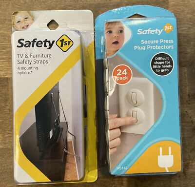Safety First Plug Protectors & Tv & Furniture Safety Straps 4 Mounting Options