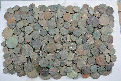 Lot of 521 Roman bronze coins FOR CLEANING AE1 AE2 AE3 AE4 Follis 100-300 AD