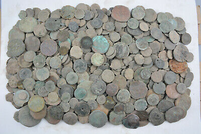 Lot of 557 Roman bronze coins FOR CLEANING AE1 AE2 AE3 AE4 Follis 100-300 AD