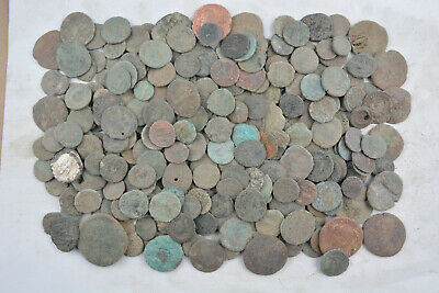 Lot of 292 Roman bronze coins FOR CLEANING AE1 AE2 AE3 AE4 Follis 100-300 AD