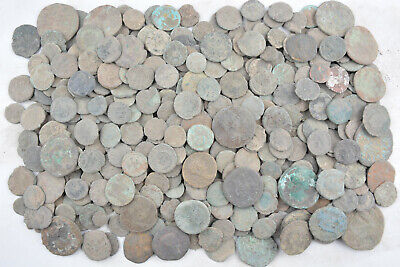 Lot of 385 Roman bronze coins FOR CLEANING AE1 AE2 AE3 AE4 Follis 100-300 AD