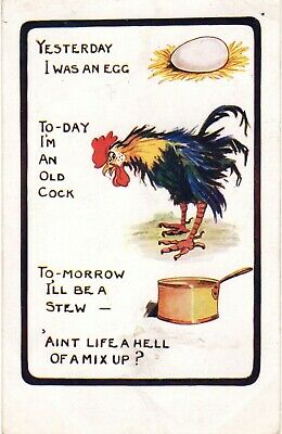 Comic Postcard - chicken and egg
